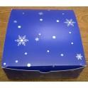 Коробка синяя со снежинками 16,5х16,5х7 см, для пряников, печенья, зефира