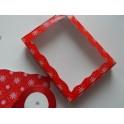 Красная снежинка 15х20х3, коробка с окошком