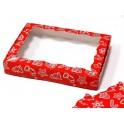 Красная новогодняя 15х20х3, коробка с окошком