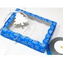 Синяя новогодняя 15х20х3, коробка с окошком