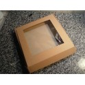 Коробка 20х20х3 см, крафт с окошком