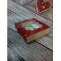 Красная новогодняя, коробка 12х12х3, с окошком