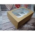 Коробка на 6 капкейков 25х17х11, крафт с окошком