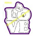 Ведмедик на LOVE 10-12 см. Набір вирубка+трафарет